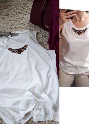 Базовая белая футболка/майка  с оригинальным декором  от diana gallesi,  p. 40-42