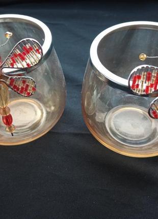 Декоративные бокалы для салфеток(2шт.),подсвечники