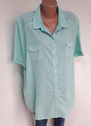 Легкая рубашка 100% х/б в мелкий горох