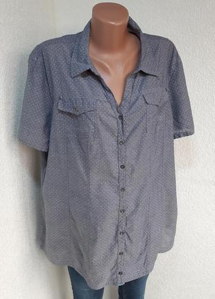 Легкая рубашки 100%коттон  в мелкий горох