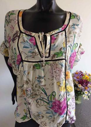 Блуза в цветочный принт h&m м-л.