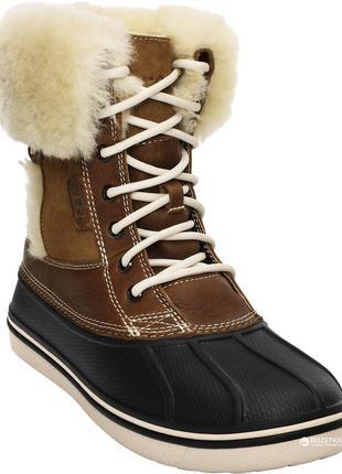 Кожаные теплющие ботинки crocs allcast luxe duck оригинал