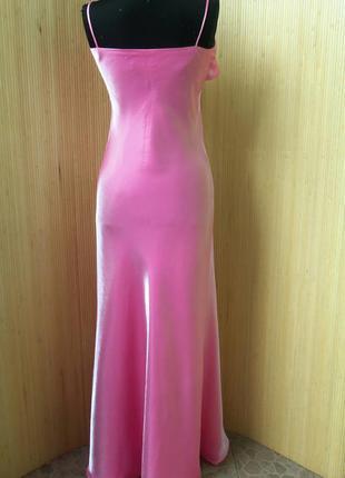 Вечернее длинное аталасное нарядное розовое платье в пол jl design3