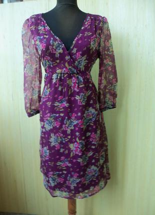 Французское винтажное летнее платье цвета марсала с цветочным принтом m-l