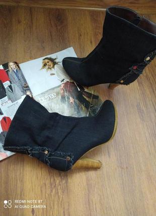 🧁🧁💕🖤крутые классные джинсовые сапожки  italian🇮🇹