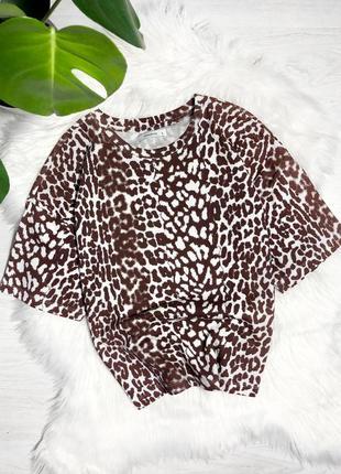 Плотная футболка в леопардовый принт