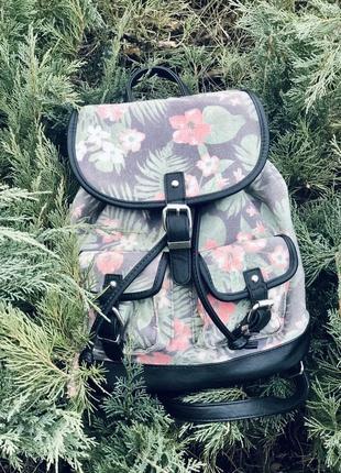 Рюкзак новый текстиль и кожа