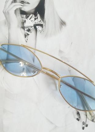 Очки маленький ромб голубой в золоте