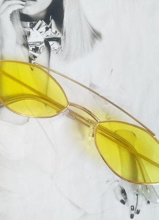 Очки маленький ромб  жёлтый в золоте