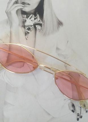 Очки маленький ромб розовый в золоте