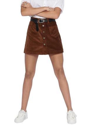 😱 🔥 вельветовая юбка с завышенной талией цвета хаки only 😍