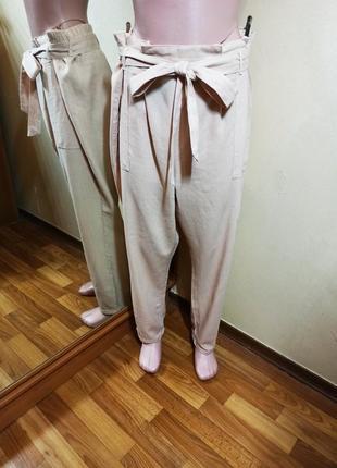 Брюки штаны зауженные пудрового цвета батал большой размер из льна