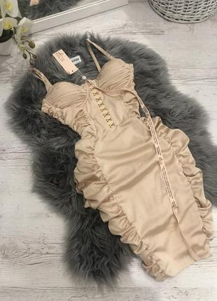 Атласное корсетное платье миди oh polly. корсетна сукня1 фото