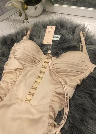 Атласное корсетное платье миди oh polly. корсетна сукня2 фото