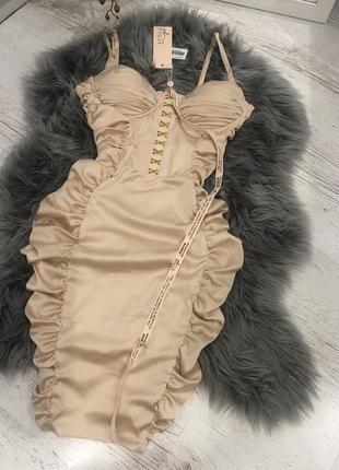 Атласное корсетное платье миди oh polly. корсетна сукня5 фото
