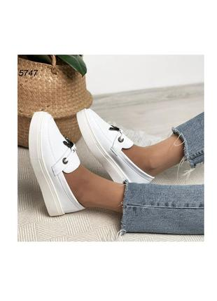 Лоферы туфли балетки эспадрильи белые на платформе