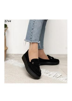 Лоферы туфли балетки эспадрильи чёрные на платформе
