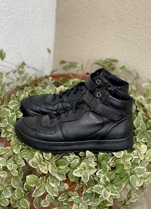 Кожаные черные кеды кроссовки geox