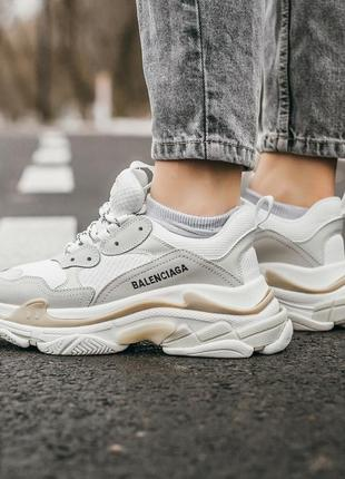 ❤ женские бежевые кожаные кроссовки balenciaga triple s cream white  ❤