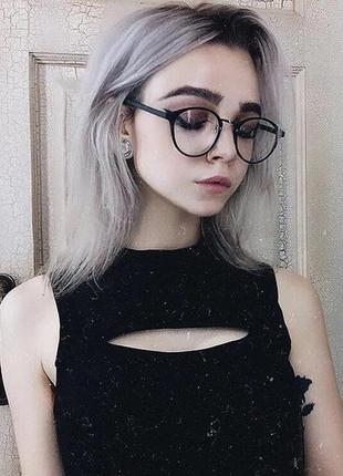 Круглые имиджевые очки чёрная оправа