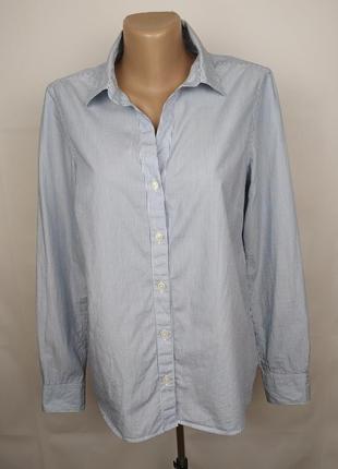Блуза рубашка оригинальная в полоску хлопок jaeger uk 12/40/m