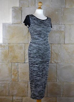 Платье миди с рукавами из кожзама new look