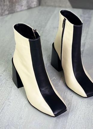 Женские кожаные чёрно-бежевые ботинки ботильоны (байка или овчина на выбор )