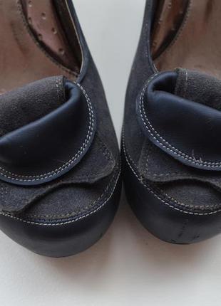 Сині туфлі на танкетці (шкіра+замш) 80d1e95133027