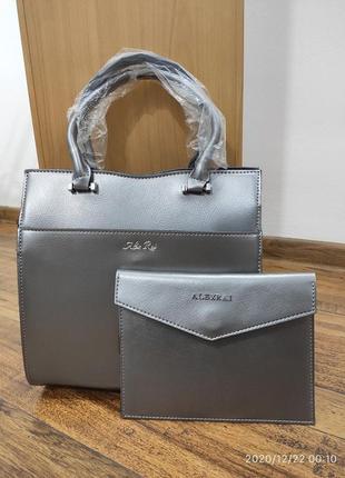 Стильная женская сумочка с клатчем натуральная кожа от alex rai