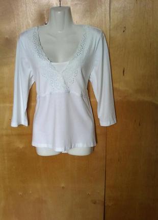 Кофта рубашка блуза туника футболка белая р 18 или 52-54 большая с вышивкой