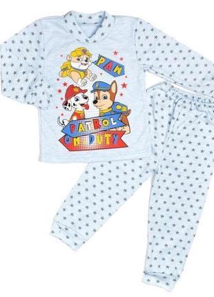Пижама щенячий патруль paw комбинирована голубого цвета интерлок