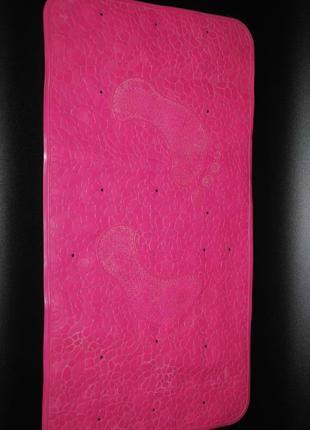 Резиновый плотный большой коврик в ванну, комнату душевую розовый