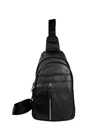 Черная мужская кожаная сумка слинг через плечо / мужские сумки / барсетка
