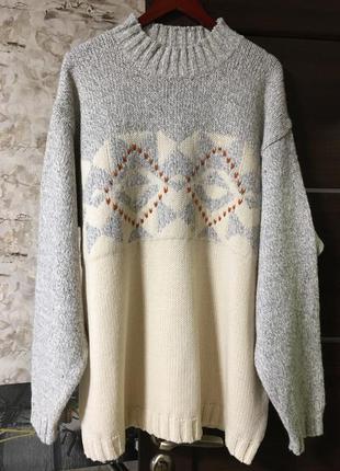 Изумительный шерстяной мериносовый свитер в орнамент signum,италия!!