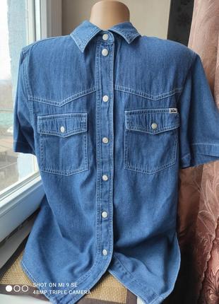 Мужская джинсовая рубашка john baner