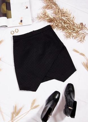 Черная юбка с запахом, короткая мини юбка классическая, стильная юбка, чорна спідниця