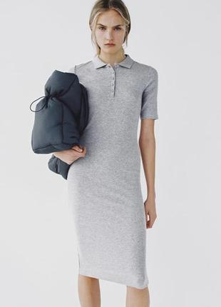Серое платье карандаш миди поло в рубчик zara зара