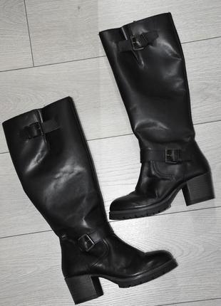 Зимние черные кожаные сапоги bellissimo оригинал теплые демисезонные размер 37