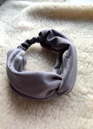 Теплая широкая повязка чалма на голову с переплетом, утепленная флисом серая