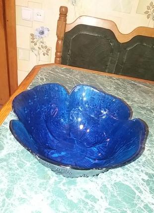 Салатник кобальтовое стекло