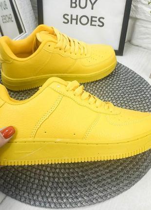 Модные яркие полностью желтые кроссовки! очень легкие