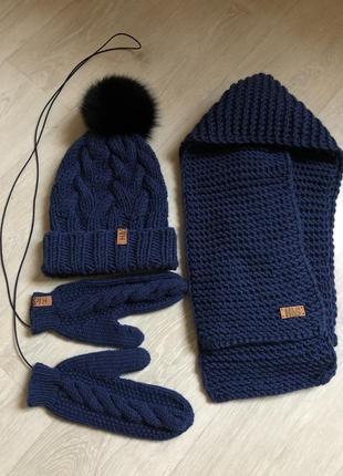 Теплый вязаный набор комплект шапка варежки шарф