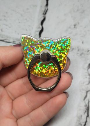 Кольцо держатель для телефона блестящий, кошечка, желтая