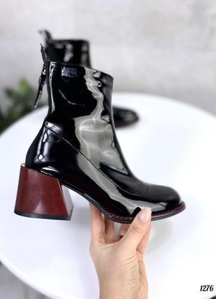 Ботиночки wamp, черные с бордовым, эко-лак, деми