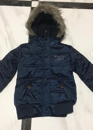 Теплая деми куртка lupilu германия, синий перламутр р92