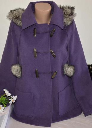 Брендовое демисезонное пальто полупальто дафлкот с меховым капюшоном papaya этикетка