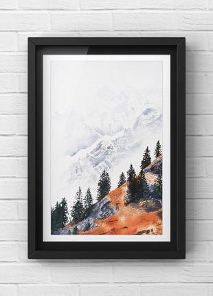 Картина с горным пейзажем