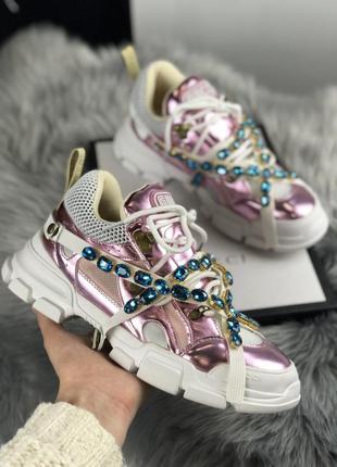 Белые/розовые кроссовки блестящие удобные (flashtrek pink white)