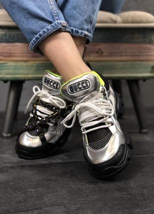 Чёрные/серые кроссовки стильные и удобные( flashtrek silver black green)