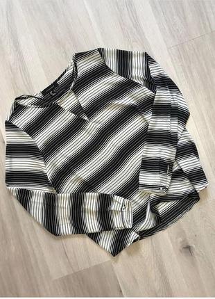 Сорочка блузка в полоску з вирізом вільний фасон / рубашка блуза в смужку свободный крой